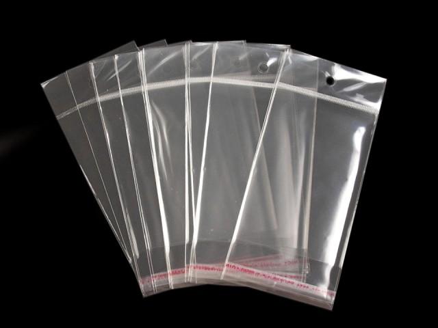 Celofánové sáčiky s lepiacou lištou a závesom 8x12 cm