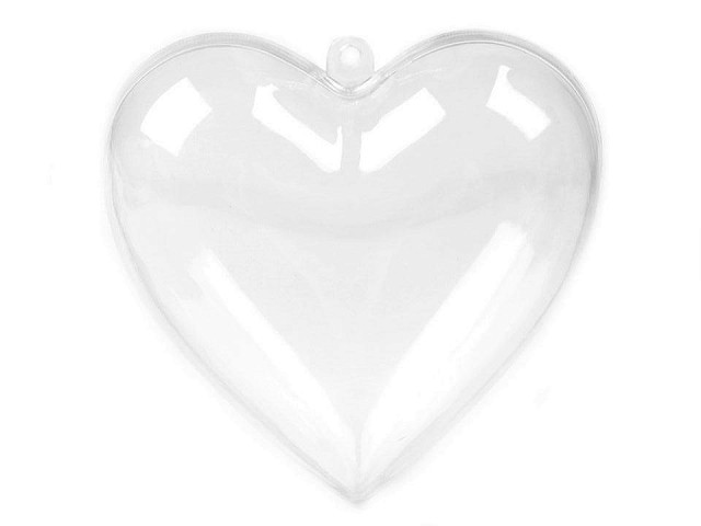 Acrylherz 8x8 cm transparent zweiteilig
