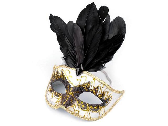 Jelmezbáli álarc maszk GLITRY tollakkal