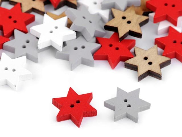 Drevený dekoračný gombík hviezda