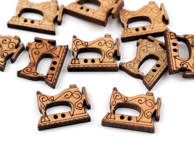 Holzknopf dekorativ Nähmaschine, Spule, Maßband