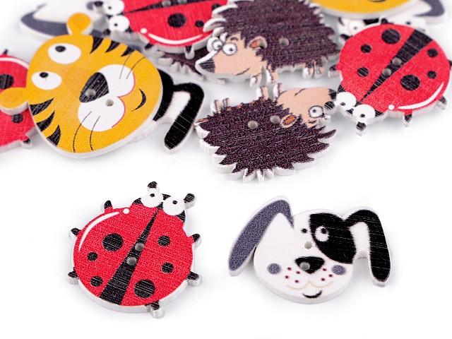 Drevený dekoračný gombík zvieratká - pes, ježko, lienka, tyger