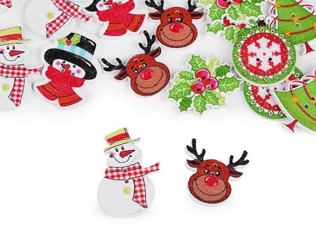 Drevený dekoračný gombík vianočný