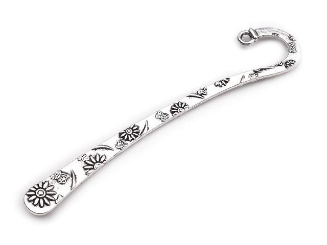 Semn de carte metalic, ornament floral, 8 cm