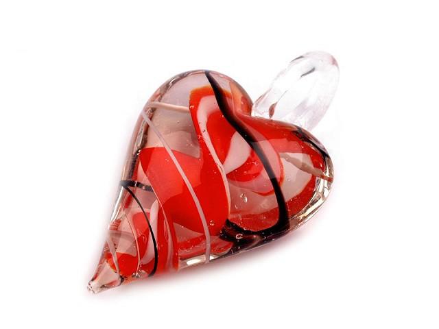 Üvegmedál szív 30x45 mm