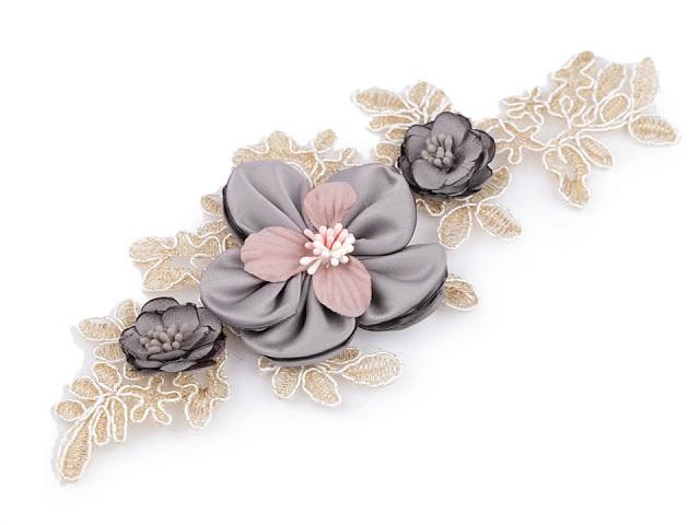 Monofilová aplikácia / vsadka 3D 9,5x23 cm s kvetmi
