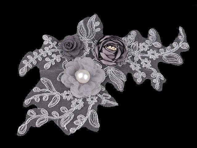 Monofilová aplikace / vsadka 3D 12x23 cm s květy