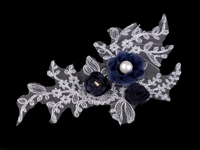 Monofilová aplikácia / vsadka 3D 12x23 cm s kvetmi