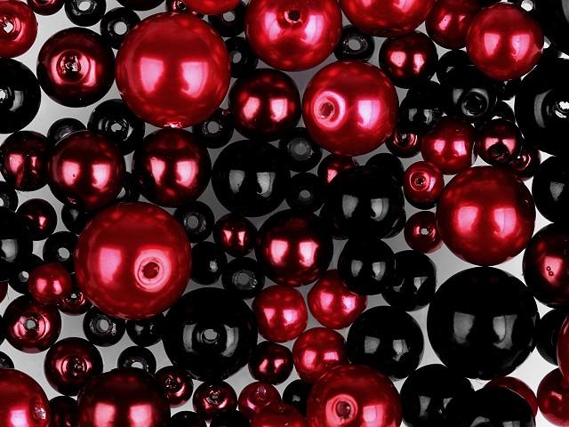 Perle sticlă lucioase, mix mărimi și culori, Ø4-12 mm