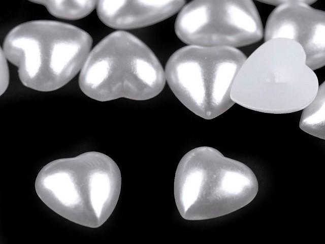 Mărgele de lipit inimioare sidefate, 10x10 mm