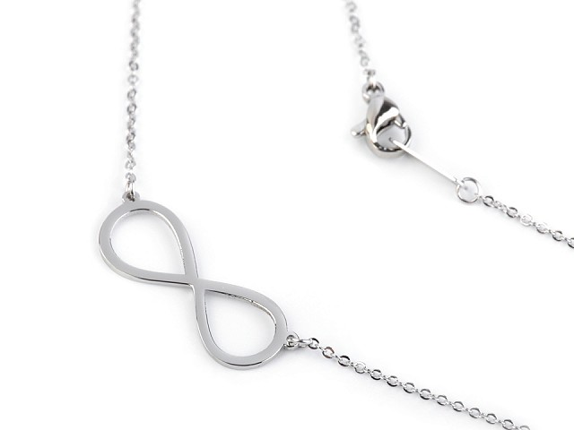 Náhrdelník srdce, křížek, motýl, nekonečno z nerezové oceli