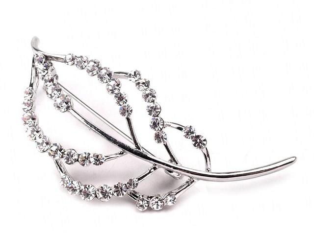 Broszka liść z szlifowanymi kamyczkami