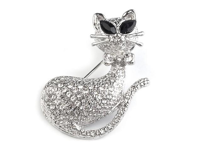 Brošňa mačka s brúsenými kamienkami