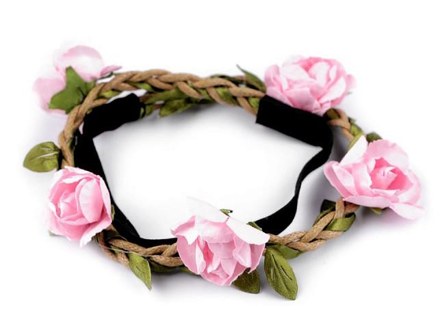 Pružná čelenka do vlasů s růžemi