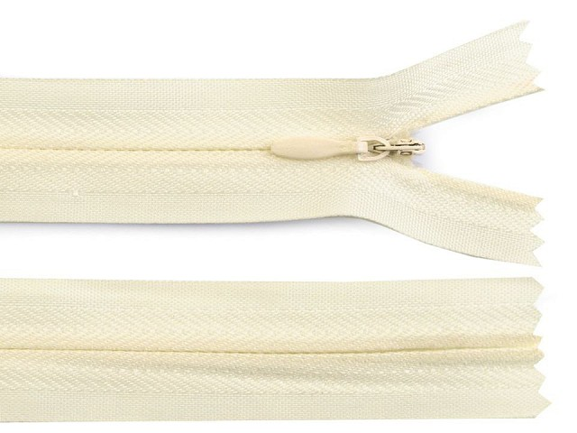 Špirálový zips skrytý šírka 3 mm dĺžka 40 cm