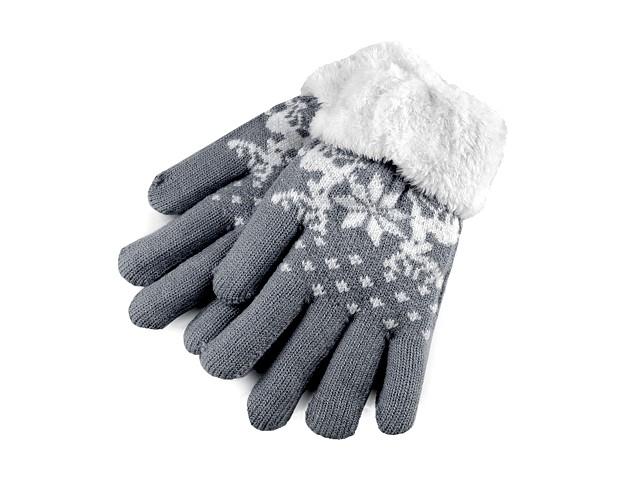 Detské pletené rukavice s kožúškom, norský vzor