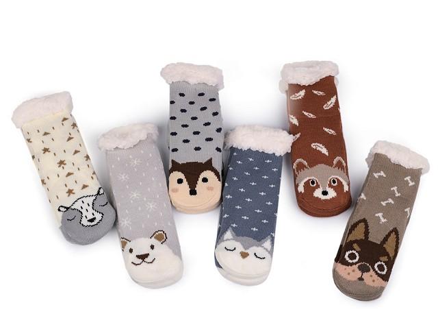 Dětské ponožky zimní s protiskluzem zvířátka