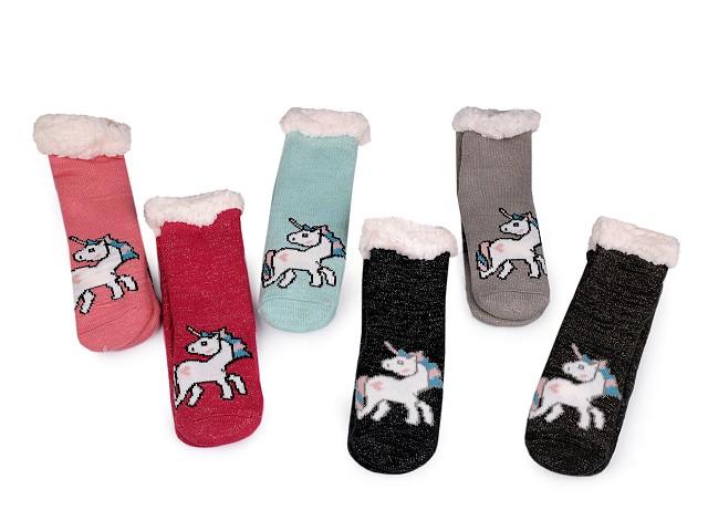 Dětské ponožky zimní s protiskluzem a lurexem jednorožec