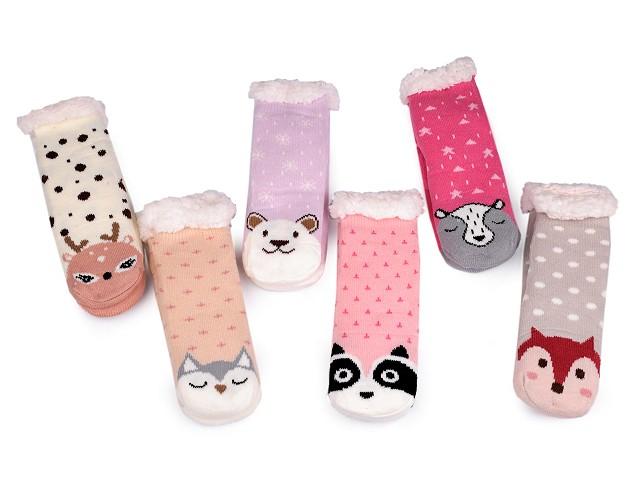 Detské ponožky zimné s protišmykovou úpravou zvieratká