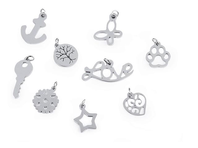 Prívesok z nerezovej ocele so spojovacím krúžkom - srdce, motýľ, vločka, hviezda, kotva