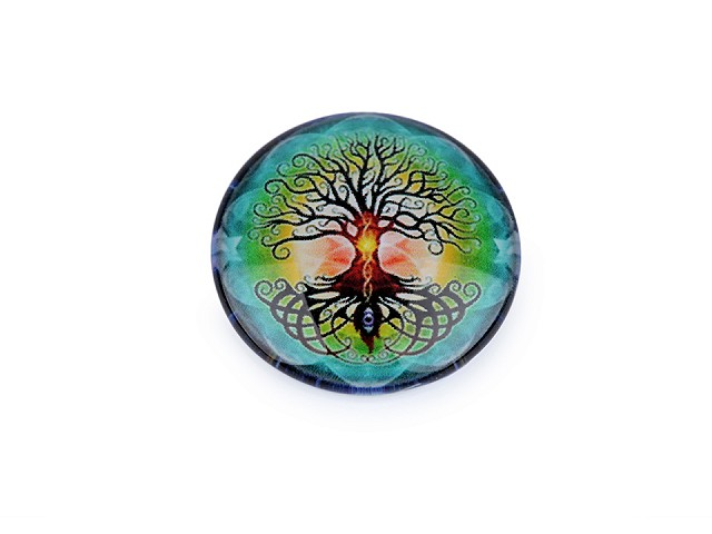 Sklenený kabošon mandala, strom života Ø25 mm