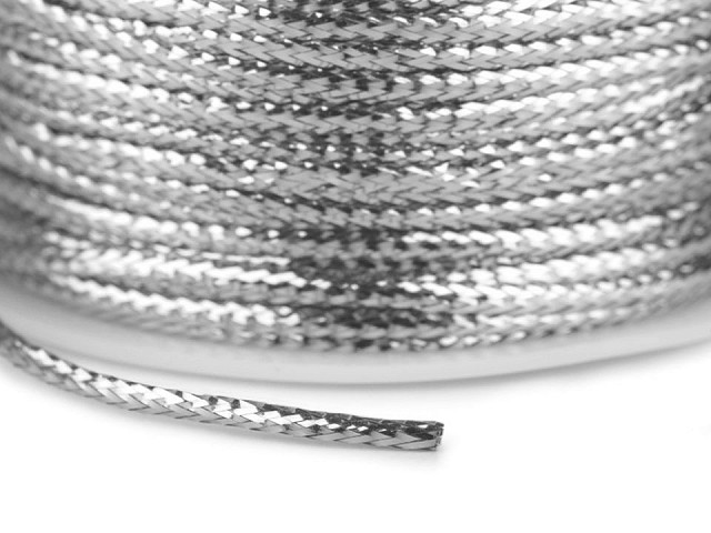 Dutinka s lurexem šíře 2 mm plochá