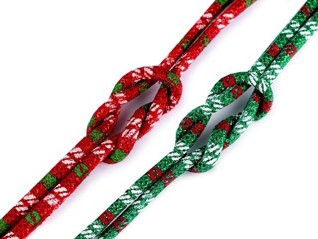 Šňůra kulatá s výplní a lurexem Ø6 mm vánoční