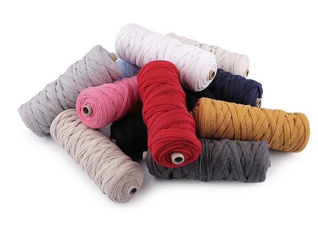 Bavlnená šnúra plochá tkaná / macramé šírka 8 mm