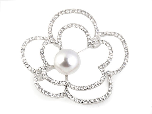 Brošňa kvet s perlou a brúsenými kamienkami
