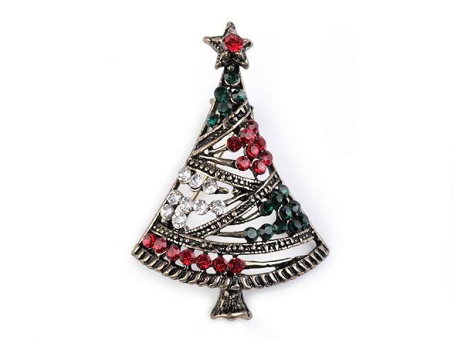 Brošňa s brúsenými kamienkami vianočný stromček