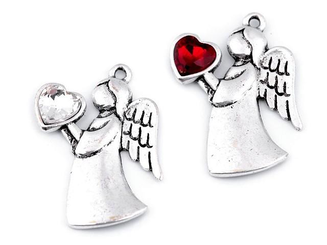 Přívěsek anděl se srdcem 24x36 mm