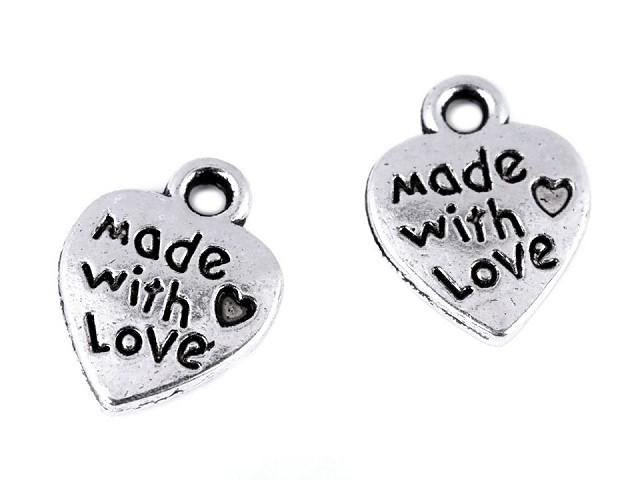 Přívěsek srdce Made with love 10x12 mm