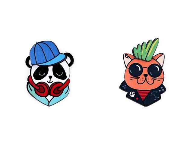 Drevená brošňa 3D panda, mačka, rys