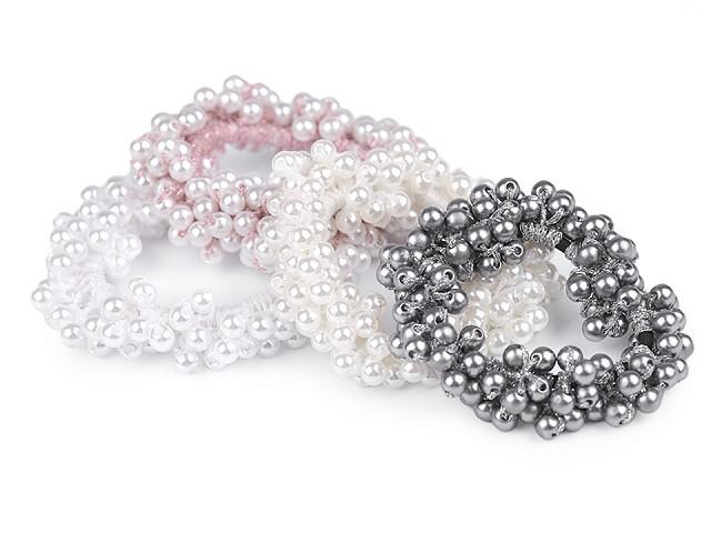 Gumička do vlasů s perlami