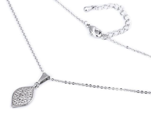 Náhrdelník z nerezové oceli s broušenými kamínky baletka, srdce, list