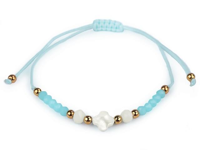 Náramok shamballa s perleťou a brúsenými korálikmi