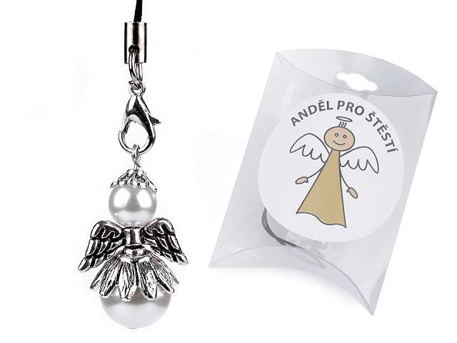 Anděl pro štěstí perlový, v krabičce