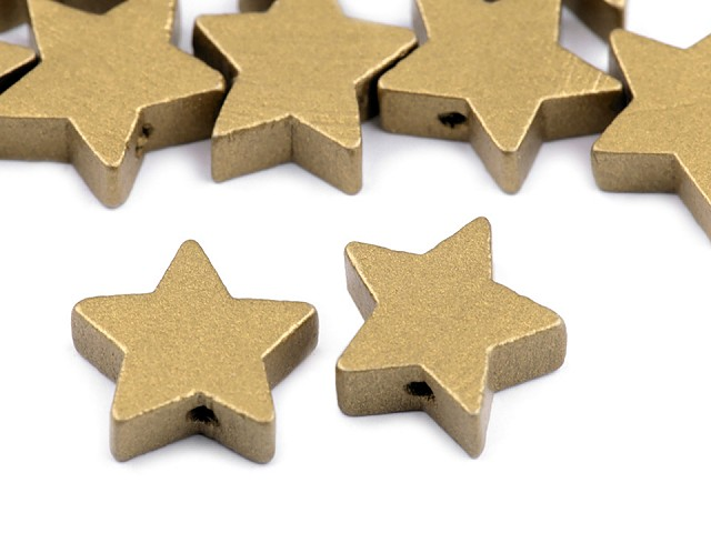 Drevené koráliky hviezda metalické Ø19 mm