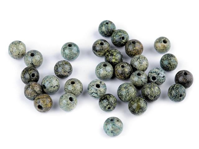 Minerálové korálky Serpentin ruský zelený Ø6 mm