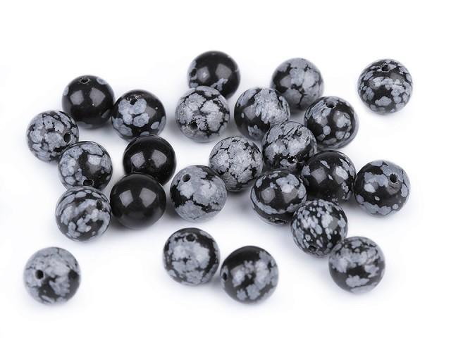 Minerálové korálky Obsidián vločkový Ø8 mm