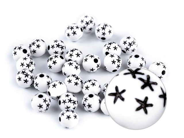 Plastové korálky s hviezdičkami Ø8 mm
