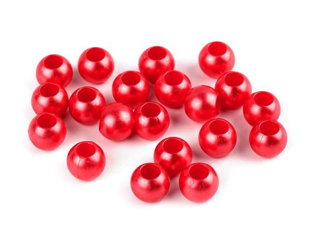 Plastové perly s velkým průvlekem 8x10 mm