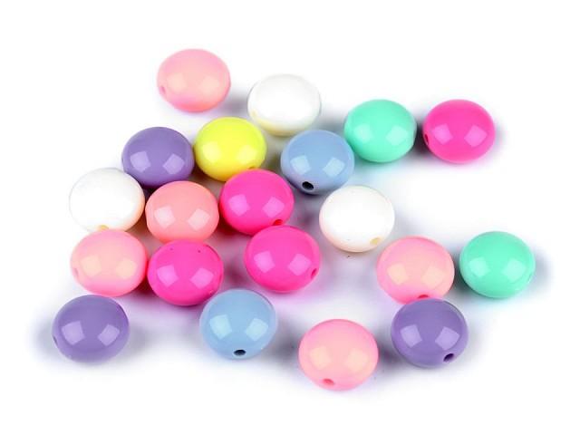 Plastové korálky pastelový mix Ø12 mm