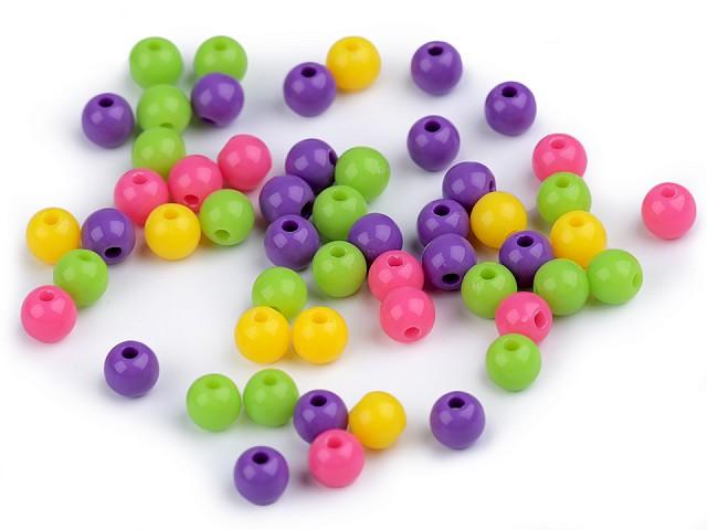 Plastové korálky Ø6 mm color mix
