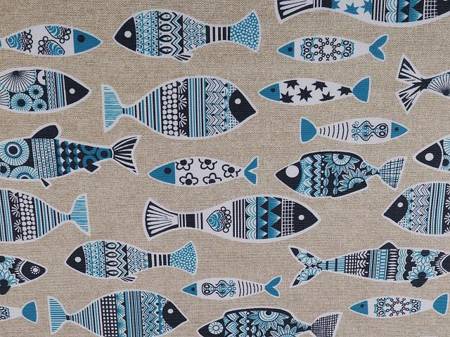 Dekoračná látka Loneta ryby