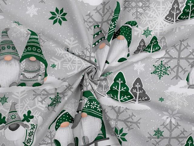 Vianočná bavlnená látka škriatok