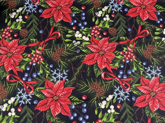 Vánoční bavlněná látka vánoční hvězda