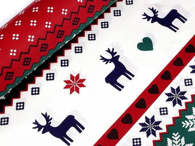 Vánoční bavlněná látka vločka a jelen