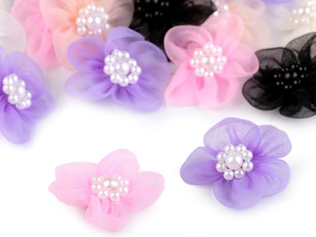 Flori din organza cu perle, Ø30 mm