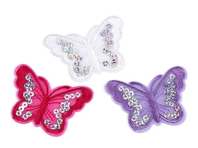 Nažehlovačka motýľ s flitrami
